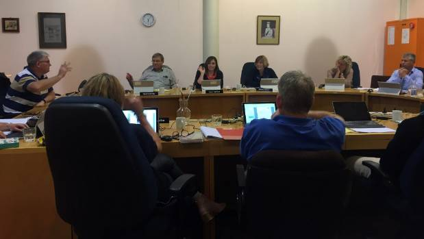 Cromwell Community Board Chairman Neil Gillespie and board members Nigel McKinklay and Anna Harrison vote against a ...