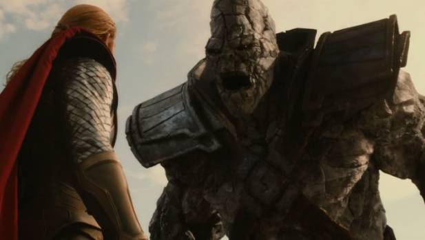 Thor faces Korg in The Dark World.