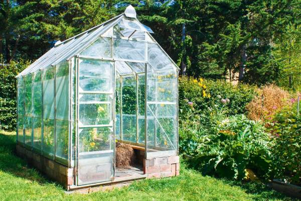 The small greenhouse extends the growing season at Loudon.