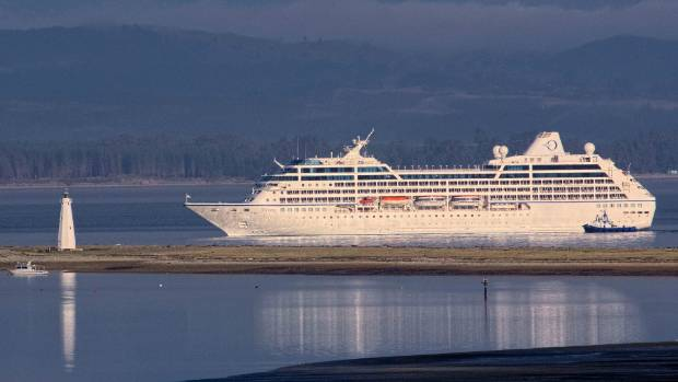 The last cruise ship to visit NZ this season, Sirena, in Tasman Bay as it nears Port Nelson.