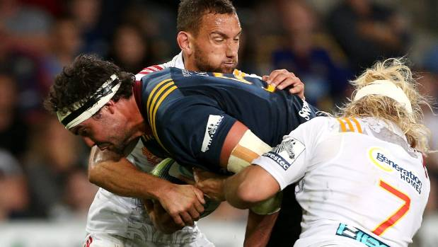 Highlanders lock Tom Franklin, pictured on the charge against the Chiefs earlier this season, will play his 50th game ...