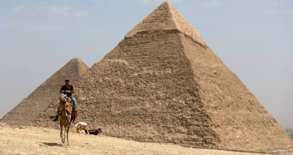 The Great Giza pyramids on the outskirts of Cairo.