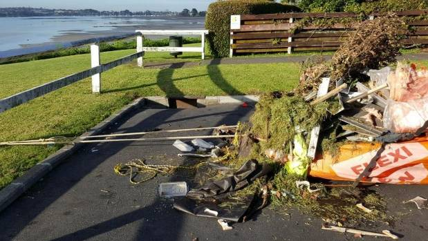 A Flexi Bin full of rubbish has been dumped at the end of Rika Rd in Pt England.