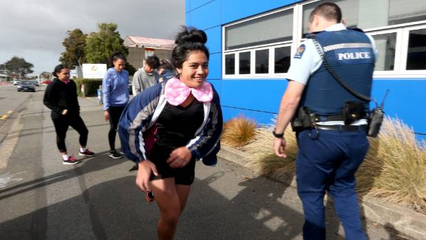 Lupe Taufa competing in a the teams first challenge at the Invercargill Police Station. Lupe ran to collect parts of a ...