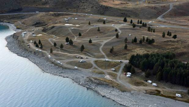 An aerial shot of The Pines reserve on the Lake Pukaki foreshore showing campers at the site.