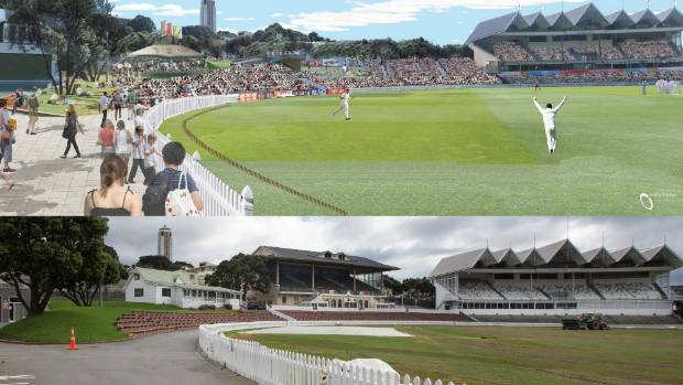 An artist's impression of what the Basin Reserve could look like without the Museum Stand, above, and how it looks now, ...
