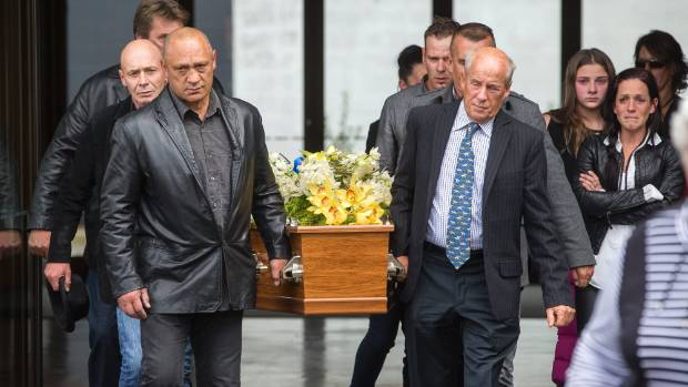 Horsetrainer Tony Kaye's coffin is taken to a hearse after his funeral at Terracehaven Chapel.