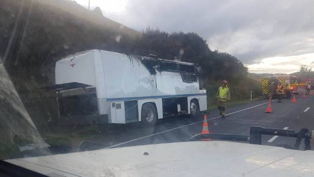 A bus fire closed State Highway 1 south of Waiouru.