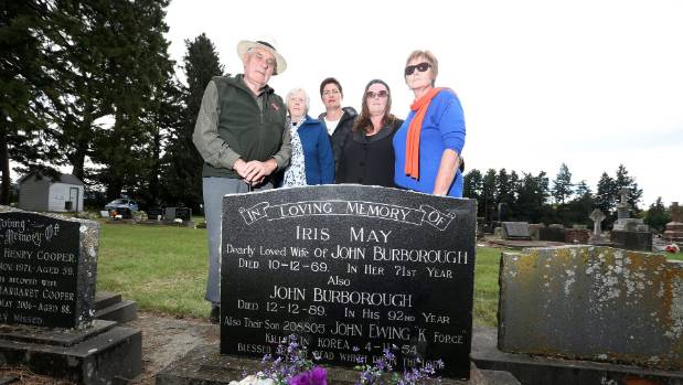 From left Doug, Betty and Diane Burborough,  Vicki Henare and Pam Cootes with their family member's plot in Fairlie.