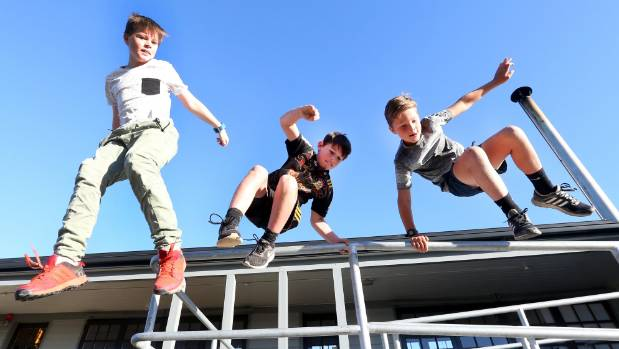 Getting the knack of parkour are, from left, Conlan Purdie, 12, Gibson Purdie, 10, and Jack MacLean, 10, before a ...