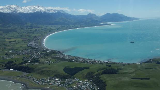 An aerial image of Kaikoura after the earthquake.