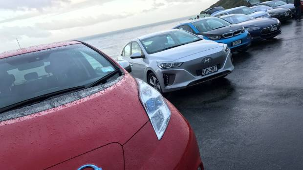 A disparate bunch of vehicles, united in the Leading the Charge EV-cause.