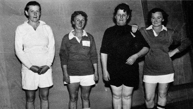 A 1950s institute rugby skit. From left, H.Forbes, H.Aldersley, Eileen Francis (All Black) and M.Marlow.