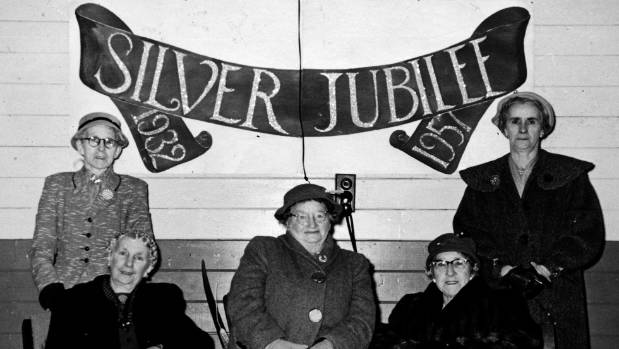 Longburn Women's Institute silver jubilee committee and foundation members, 1957. From left, Mrs Rowland, Mrs ...