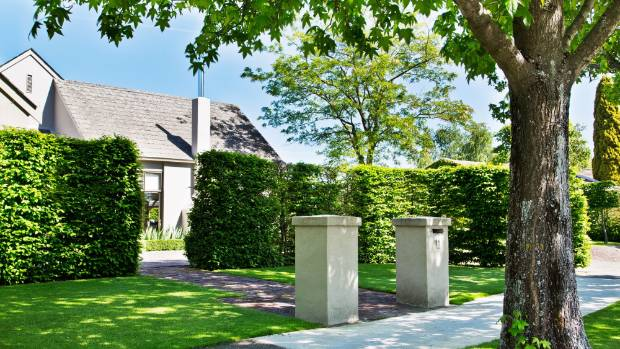 Short stone pillars stand out the front entrance of a Blenheim home.