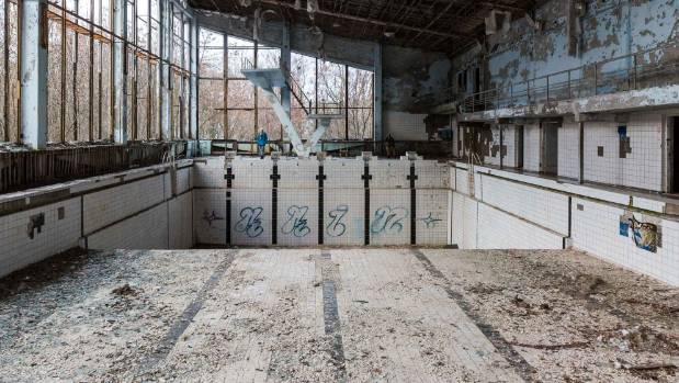 A community swimming pool in Pripyat is a reminder of happier times.