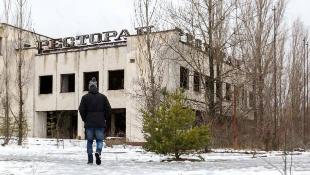 Unlike in other Ukrainian cities, Pripyat buildings still display communist propaganda.
