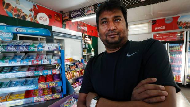 Kamlash Maisuriya says he had a bad feeling when a man in a hoodie came into his empty dairy on Wednesday evening.