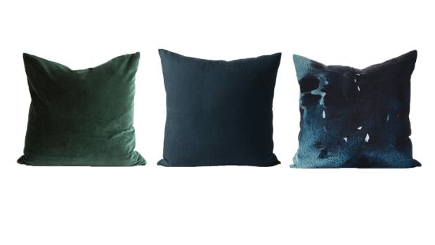 Dark blue and green tones. From left: Alex and Corban Takumi cushion, $129.99; Citta cotton velvet cushion, graphite ...