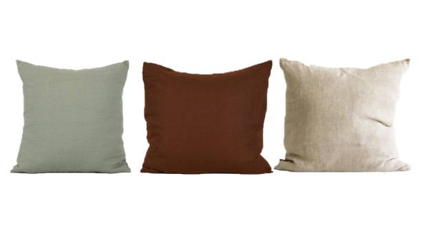 Greige and earthy tones: Nodi Rugs linen cushion, sage, $118; Penney and Bennett linen cushion, foal, $129; Alex and ...