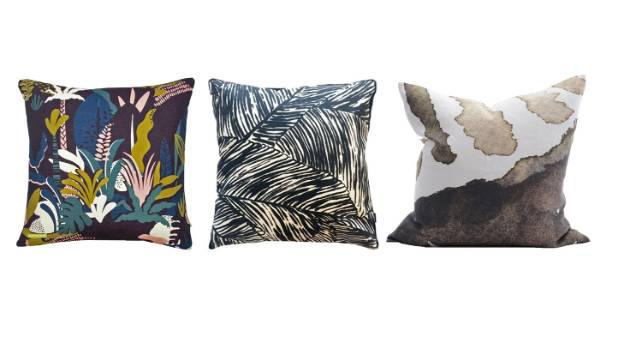 Take inspiration from nature. From left: Bolt of Cloth Rumble in the Jungle cushion, $75; Shut The Front Door Evermore ...