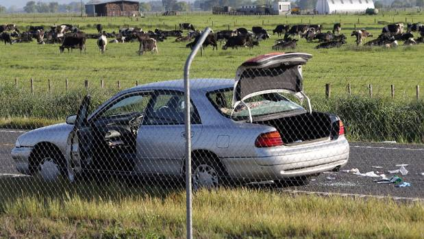 The car driven by the shot man at the scene on  State Highway 2, Kerepehi.