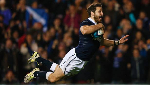 Irish-American-Scot Tommy Seymour scores against Argentina.