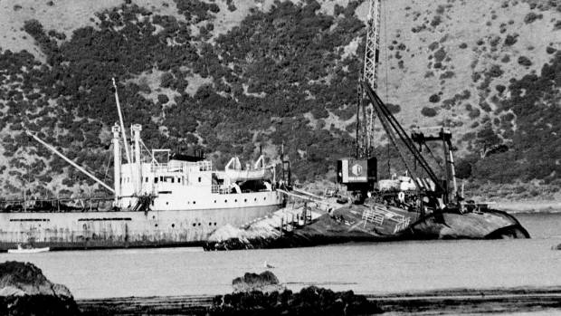 The Wahine at the entrance to Wellington Harbour, a month after it foundered. We were told there was a real risk the ...