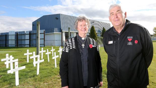 Reverend Dawn Daunauda with Marlborough Returned and Services Association president Ross Cook outside the Awatere ...