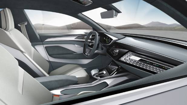 Inside Audi's e-tron concept unveiled at the 2017 Shanghai auto show.