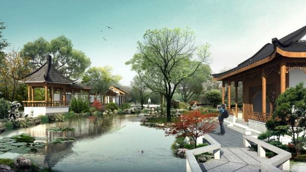 An artists' impression of what the Chinese garden in Queens Park could look like.