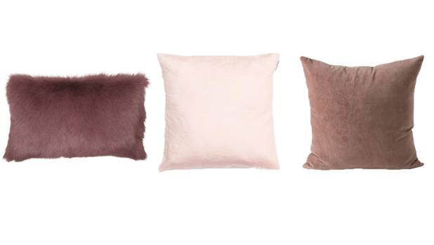Soft linens or luxurious velvets. From left: French Country Collections mauve goat fur cushion, $119; Lusso blush pink ...