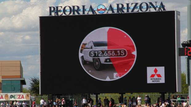 The Peoria Sports Complex had just installed its giant new 195 square metre Daktronics video display board before ...