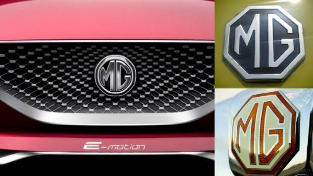 The new MG badge (left) adorns the company's E-Motion electric sports car concept with two examples of the old octagonal ...