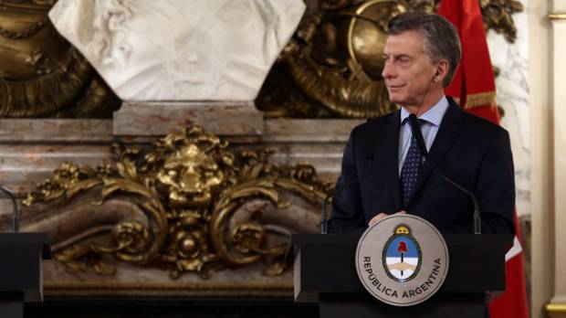 Argentina's President Mauricio Macri at the Casa Rosada Presidential Palace in Buenos Aires.