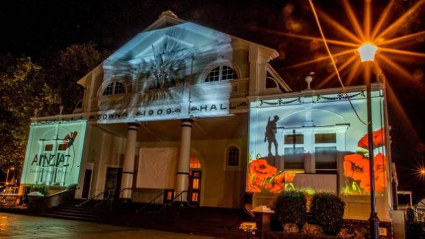The Cambridge Town Hall lit up with memories of the Anzacs during 2016 commemorations.