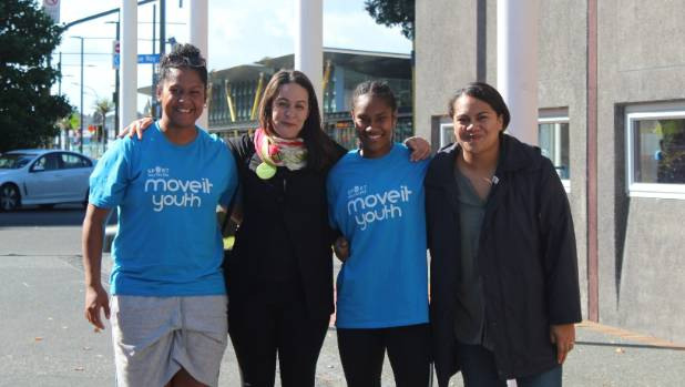 Campaigning in New Lynn. Mafi Faukafa, left, with Leilani Tamu, Talei Kidd and Collette Kalolo.