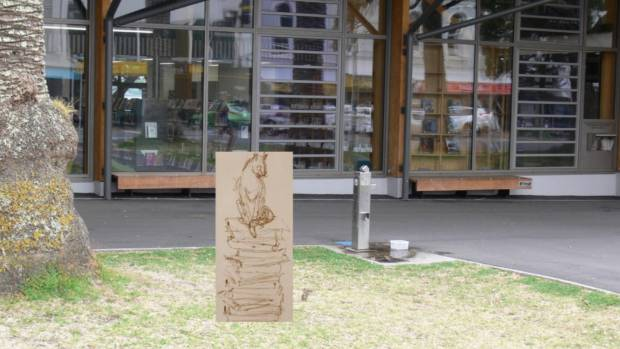The proposed spot outside the entrance to the Devonport Library, on Auckland's North Shore, where the one-metre bronze ...