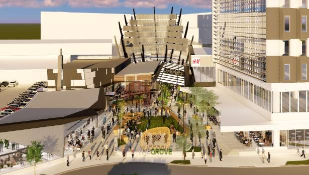 An artists rendering of The Grove, a new pavilion and dining laneway at the Sylvia Park shopping centre.