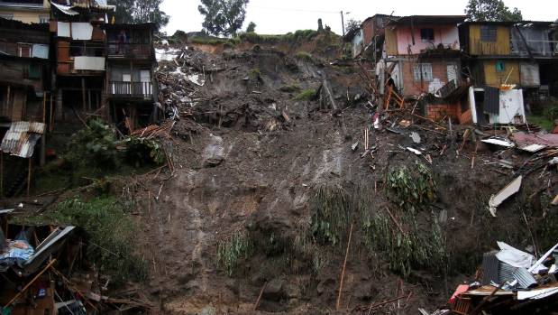 View of a neighborhood destroyed after mudslides.