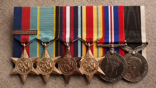 Arthur Evans' service medals.