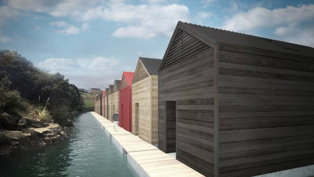 An artist's impression of floating houses planned for Auckland's Gulf Harbour in 2016.