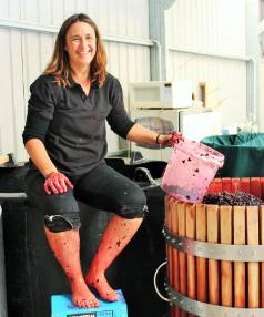 Debra Cruickshank enjoying the delightfully messy job of making port at her Cromwell winery.