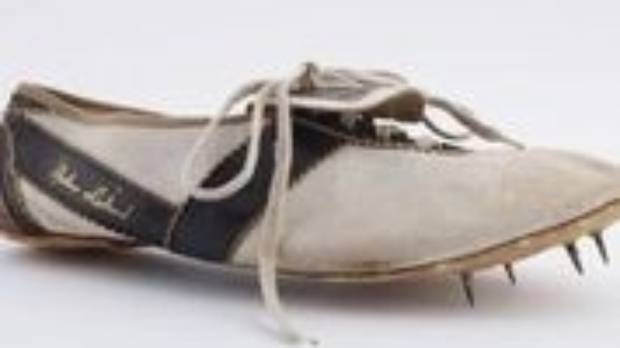 The right shoe worn by Peter Snell when he won the 800m at the 1960 Olympics in Rome.