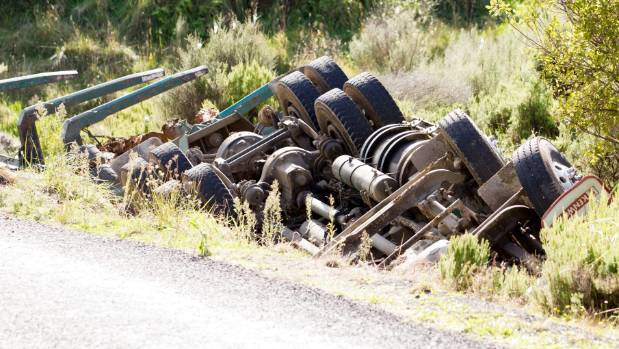A man has died after a logging truck rolled into a ditch on Te Anga road, Waitomo.