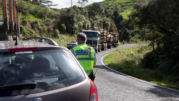 Te Anga Road is used often by logging trucks.