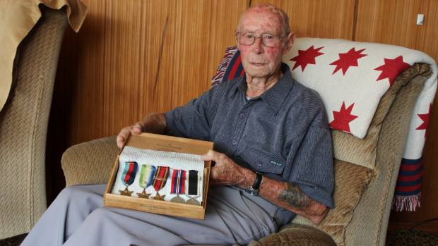 Colin Cameron is proud of his medals earned while serving the New Zealand people on board HMS Achilles.