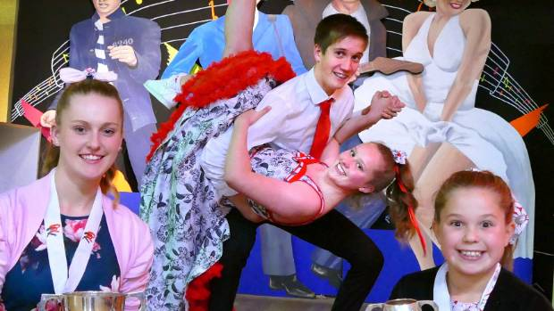Invercargill Rock n Roll Club dancers Connor Ross and Amber Granthan, both 15, and front, Chloe Hewitt, 17, and Briarlee ...
