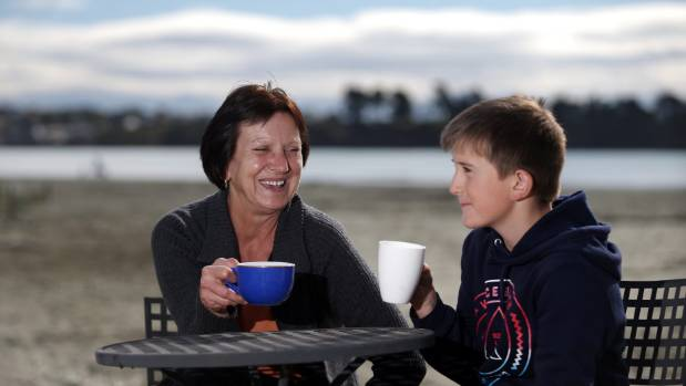 Alice Szymanczuk and her grandson Sean McKay, 10, think it would be a good idea to have a cafe on Caroline Bay.