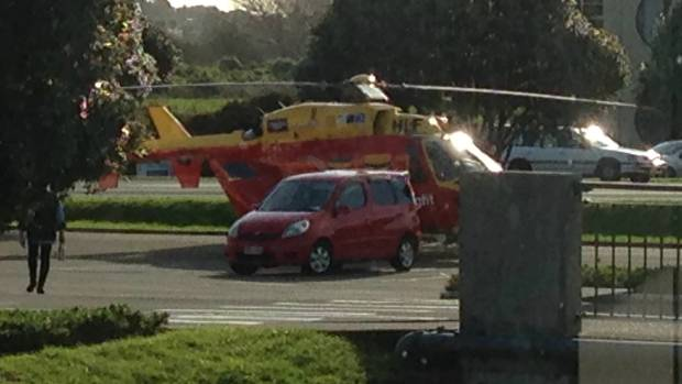 The helicopter pilot performs a precise landing in the Coastlands carpark. Samara Shaw was taken to Wellington Hospital ...